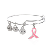 Wholesale Silk Fill - New Arrive Alex And Ani Bracelet Breast Cancer Awareness Bangle Faith Hope Love Charm Bracelet Wish Jewelry Hot Selling pink silk ribbon
