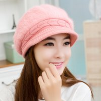 Wholesale warm hats Miss Han Ban angora wool hat knitted hat to keep warm in autumn and winter fashion new winter beret wool caps