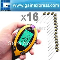 Wholesale 16 pieces x Digital in pH Meter Measures Soil pH Temperature Moisture Sunlight Tester Probe Backlight of