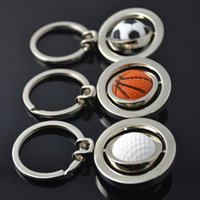 basketball photo frame - Spinning football Sports Keychain Key Chain Golf Basketball KeyChain keyrings zinc alloy the best wedding Favor Key Fob Car Keychain