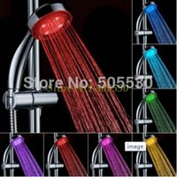 Wholesale LED shower head Bath faucet water saving light colors change water flow power order lt no track