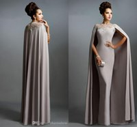 Wholesale Janique Dresses New Long Mermaid Evening Dresses With Cape Illusion Neck Lace Mother of the Bride Dresses Long Formal Party Prom Gowns