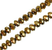 strands of glass beads - DIY Jewelry Making Strand of Electroplate Glass Beads Gold Plated Faceted Abacus x4 mm B281