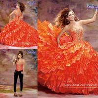 Wholesale 2015 Quinceanera Detachable Skirt Two Pieces Vintage Sweet Sixteen Quinceanera Dresses Orange Prom Dresses Vestidos De Masquerade