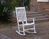 american furniture recliner - American Rocking Chair White Finish Outdoor Furniture Garden Chair With Armrest Leisure Wood Rocking Recliner Chair Sofa