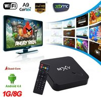 Wholesale XBMC DLNA Miracast Airplay WiFi H Quad Core P MXV Smart Android TV Box Amlogic S805 G G Bluetooth Set Top Box