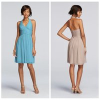 Wholesale Halter A Line Chiffon Short Bridesmaid Dresses Mini Pleated Custom Online Party Gowns Backless Formal Bridesmaids Dress