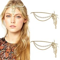 Wholesale Romantic Goddness Head Accessories Chains Pearls Lock Tiara Bridal Headbands