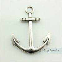 anchor charms - 30pcs x25mm Antique Bronze Silver Zinc Alloy Anchor Charm Pendant Fit DIY Metal Jewelry Making