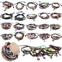 Wholesale 16Styles Ethnic Tribal Hand woven Hemp Pendant Leather Bracelet Wristband Link