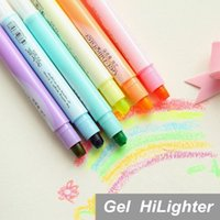 Wholesale 6 Highlighter pen Candy color Marker Luminescent paint Stationery Office material School supplies
