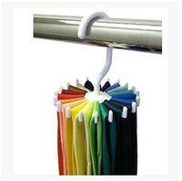 belt rack - 2015 Hot Sale White Practical Spins Degree Rotating Belt Tie Rack Organizer Hanger Hold Ties Belts Household Hanger LJJC1557