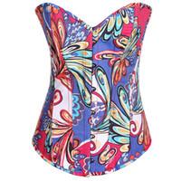 Wholesale Strapless Lingerie Tops - Sexy Bustiers Strapless Jacquard Print Design Underwear Corset Vest Shapers Boned Plus Size Lingerie Corset Tops C1028