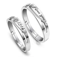 el oro blanco plateado de los hombres ring par plata de ley 925 mujeres anillo de plata anillos de plata