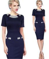 Wholesale New Fashion Elegant Round Neck Short Sleeve Knee length Patchwork Bodycon Party Cocktail Women Career Sheath Dress