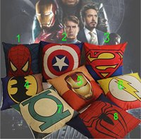 avengers print - Superhero Avengers cushion case superman batman Printed Cushion Cases Mediterranean style Pillow Covers Home Textiles coffee house Décor
