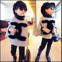 al por mayor extremos de la tela-Capa de abrigo de invierno de los niños de lana estilo de marca de onda coreana de los abrigos del bebé Las niñas de capa de manto de tela muñeca redgrayrose