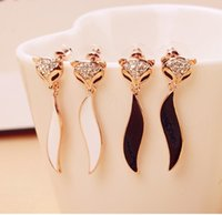 acrylic profiles - 2015 Women s Stud Party Limited High profile Big Eye catching Black And White Flowery Fresh Golden Flash Diamond Earrings Small Fox