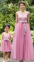 beaded vests - Mother and daughter dresses lace beaded petals vest tulle long dress kids Bridesmaid Dress Ball Gown Family party dress A6305