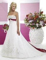 red and white wedding dresses - Hot Sale Women A Line White And Red Wedding Dresses Embroidery Floor Length Court Train Sleeveless Natural Satin Strapless Bridal Gowns VT