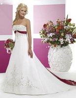 red and white strapless wedding dresses - Hot Sale Women A Line White And Red Wedding Dresses Embroidery Floor Length Court Train Sleeveless Natural Satin Strapless Bridal Gowns VT