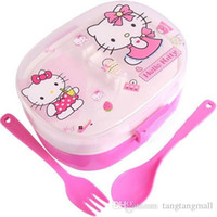 bento lunch box set - Special Offer Hot Sale Bento box Hello kitty Lunch box Dinnerware sets Children Cartoon Plastic Lunch boxes Fork Spoon Kit