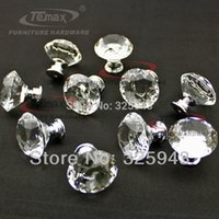 Cheap Free Shipping 50pcs Clear Glass Crystal Kitchen Cabinet Knobs And Handles Dresser Drawer Pulls Furniture Bedroom