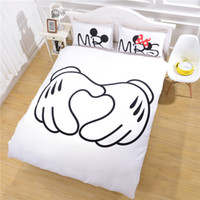Wholesale Direct Selling Heart Mickey Mouse Bedding Plain Printed Sheet Set Christmas Gift Soft Home Textiles Bedroom Twin Full Queen