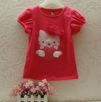 Wholesale B2W2 Girls T shirts Kity Wing Love Heart Short Sleeve T shirts Y KT150