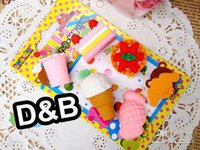 Wholesale Fshion design Cute Simulation Fruit Eraser Designs Office Rubber Eraser Gift set
