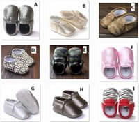 Wholesale 16 Style Baby PU Leather Shoes Moccasins Soft Shoe freshly picked Handmade Camouflage Tassel Toddler Prewalker For T BY0000