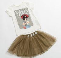 Cheap 2015 Baby Summer Clothes Children Girls Tshirt Skirt Suit Children Girl Sequins Shirt Skirts Outfits Kids Lace Tshirt t shirt Sets D4210
