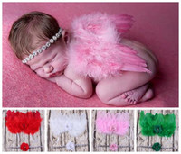 american photography - newborn photography props baby fabric flowers rhinestone headbands angel wings costume pink red fairy feather butterfly wing suit gift set