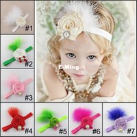 Wholesale Beautiful Lovely Roses And Feather Head Dress Crystal And Pearl Head Piece Kids Fascinator Hair Flower For Baby Rhinestone Bow Headpieces