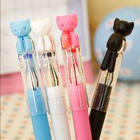 Wholesale 4 cartoon cat gel pen cute color pens kawaii stationery canetas material escolar school supplies papelaria