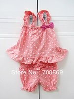 baby print material - DHL EMS baby girl toddlers summer set cotton outfit vest bloomers dot print softer material