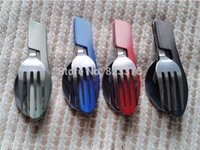 Wholesale 160pcs outdoor folding cutlery set with knife fork spoon cover portable for travel stainless steel picnic tableware cookware