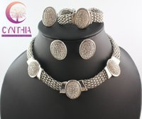 african jewellery designs - Classical Design Silver Plated Clear Rhinestone Necklace Bracelet Earring Ring Set Wedding Jewellery Bridal Jewelry Set WB