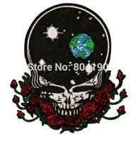 Wholesale 3 quot Grateful Dead Space Your Face Music Band Embroidered LOGO Iron On Patch Emo Goth Punk Rockabilly Customized patch available