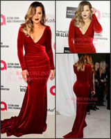 Wholesale 2015 Hot Sexy V neck Velvet Sheath Evening Celebrity Dresses Long Sleeves Winter Formal Occasion Sweep Train Prom Gowns Plus Size BO6406
