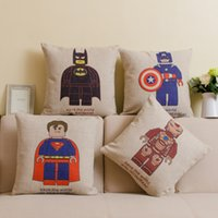 Wholesale Cartoon League of Heroes Cushion Case Pillow case Super Man Iron Man Batman Linen Cotton Fabric Pillowcase