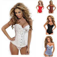 Wholesale 1 set dropship to USA Bustiers Black Satin Embroidered Corset Overbust Corsets Tanga SIZE S XL new arrive dorp shipping