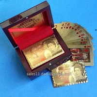 Wholesale 2014 new style Pond Elizabeth Gold plated Playing Cards in wooden box with Certificate by Fedex UPS
