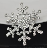 Wholesale Frozen snowflakes brooch Rhinestone Christmas Brooch Pins Crystal Large Snowflake Winter snow Theme Brooches for women