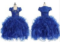 Cheap 2015 Free Jacket Girl's Pageant Dresses Organza Ball Gowns With Beading Sequins Ruffles Long For little girl girls Flower Girl Dress gown