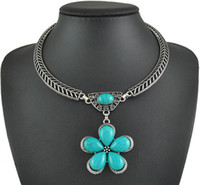 acrylic paintings flowers - New Vintage Silver Plated Metal With oil painting Shell turquoise Flower Pendant Choker Necklace For women N0289