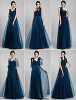 Wholesale 2015 Cheap Royal Blue Bridesmaid Dresses Tulle Sleeveless Convertible Dresses Floor Length Prom Party Dresses Evening Formal Dress C2594