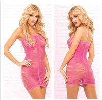 Wholesale Sexy Lingerie Women Mesh Dress Within Temptation Bodycon Dresses Stretch Jumpsuit Nightclub Dress Hollow Out Sexy Charm Clothing A114F7