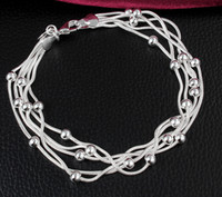 lobster claw - High Grade Silver Bracelets Silver Link Chain Bracelets For Women Girl and Boy Gift Silver Jewelry YDH