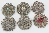 aqua colored flowers - Quality Crystal Rhinestone Dull Gold Colored Flower Brooch Pin New order lt no tracking